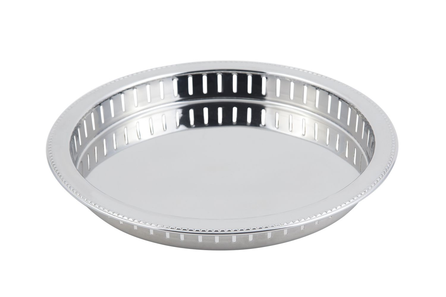 "Bon Chef 61340 Stainless Steel Bar Tray with Bead Rim, 11 1/2"" Dia."