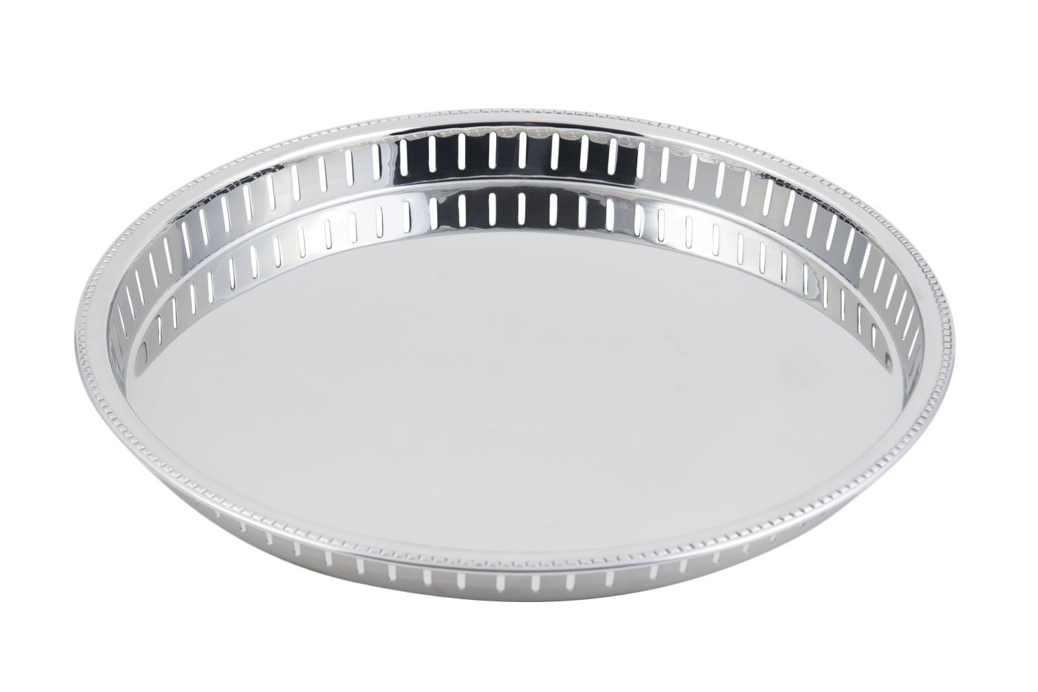 "Bon Chef 61341 Stainless Steel Bar Tray with Bead Rim, 15"" Dia."