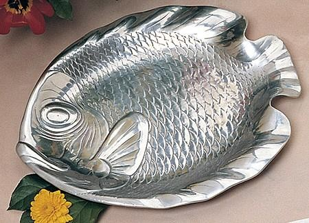 "Bon Chef 80256 Medium Fish Platter, Pewter Glo 12 1/4"" x 15 1/2"""