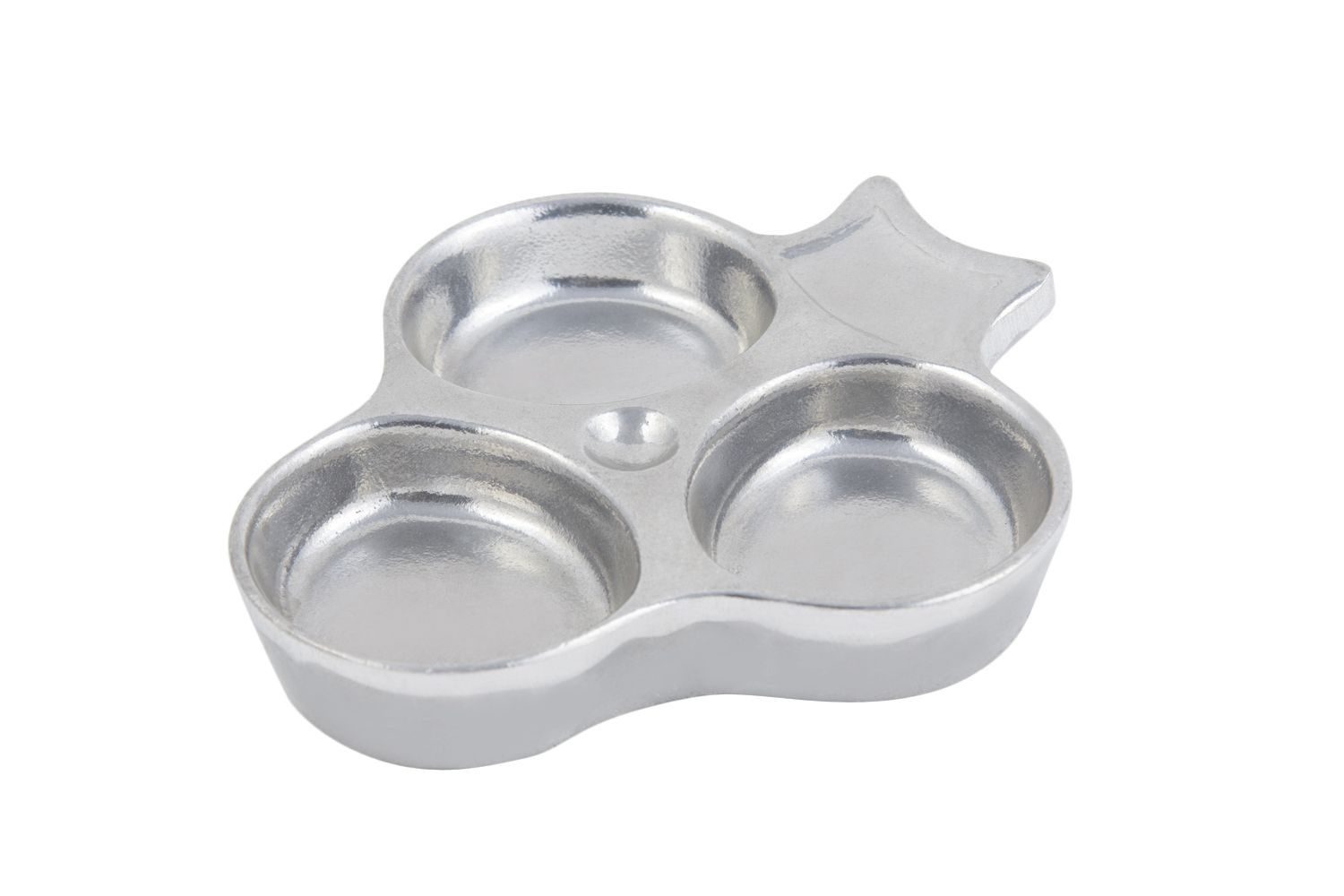 "Bon Chef 9064P 3-Compartment Sauce Dish, Pewter Glo 5 1/2"" x 5 3/4"", Set of 6"