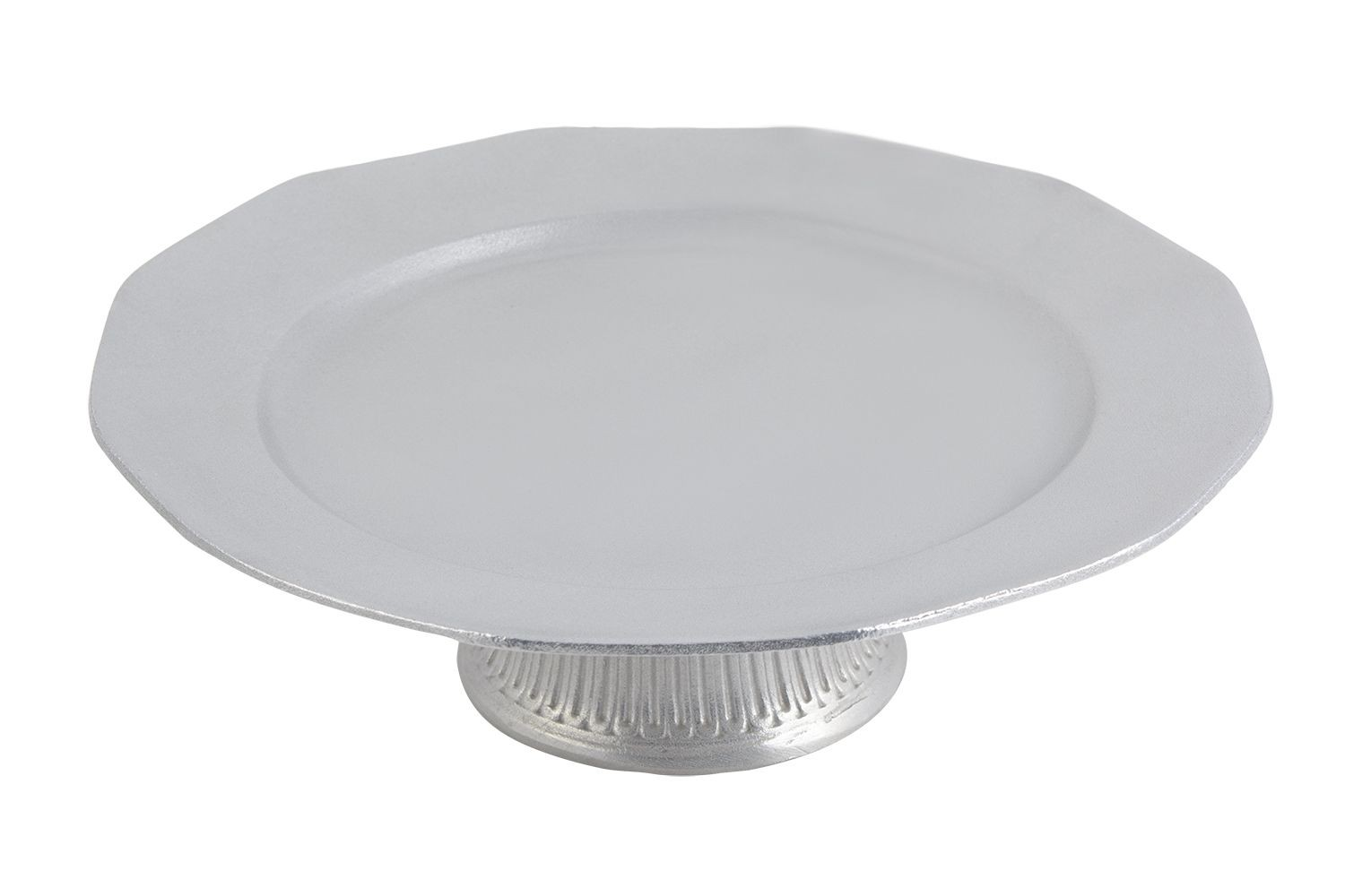 """Bon Chef 90979059P Prism Serving Tray with Pedestal, Pewter Glo 13"""" Dia., 4"""
