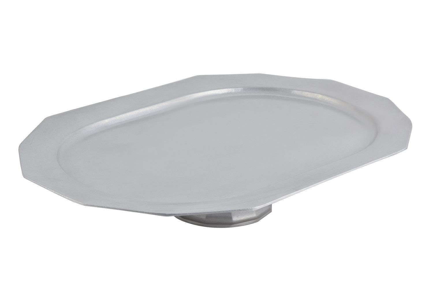 "Bon Chef 91019113P Oblong Prism Footed Pedestal Tray, Pewter Glo 14"" x 20"""