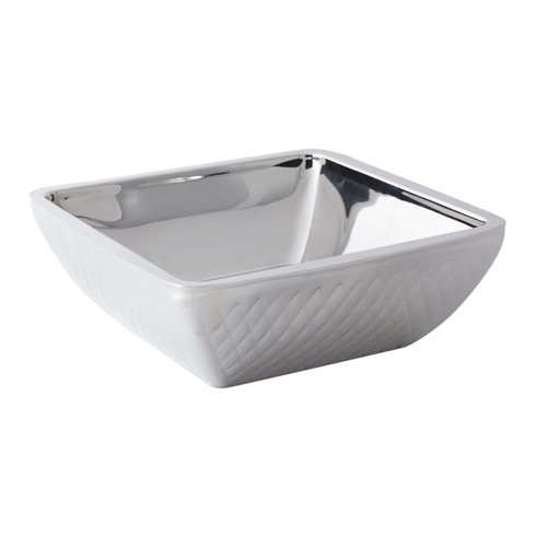 Bon Chef 9333DI Cold Wave Diamond Collection Triple Wall Square Bowl with Stacking Cover, 4 Qt.