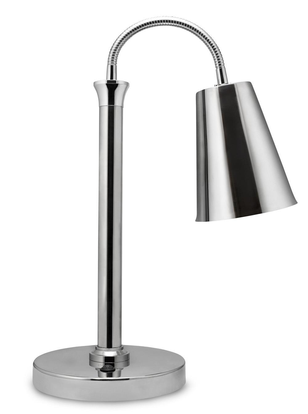 "Bon Chef 9669 Single Bulb Heat Lamp with Chrome Shade, 23"" H."