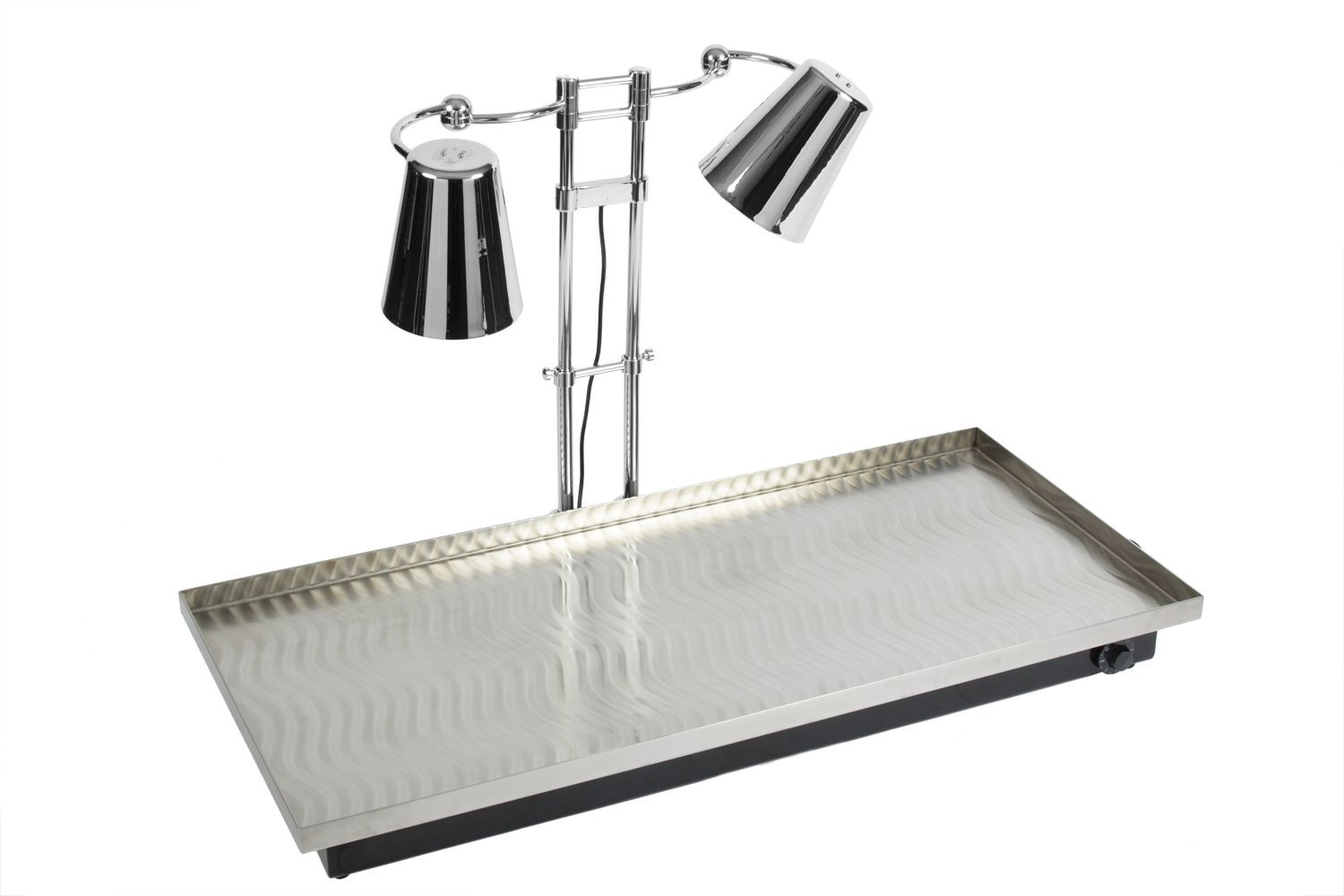 """Bon Chef 9679 Stainless Steel Heated Swirl Tray with Adjustable Dual Heat Lamps, 48"""" x 22"""" x 30"""""""