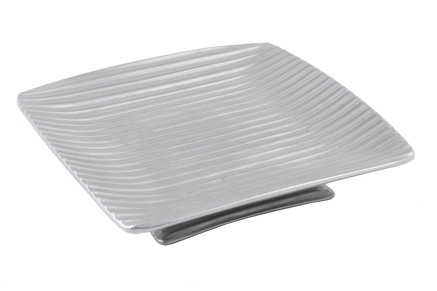 "Bon Chef 99189920P Footed Ribbed Platter, Pewter Glo 10"" x 10"" x 1"""