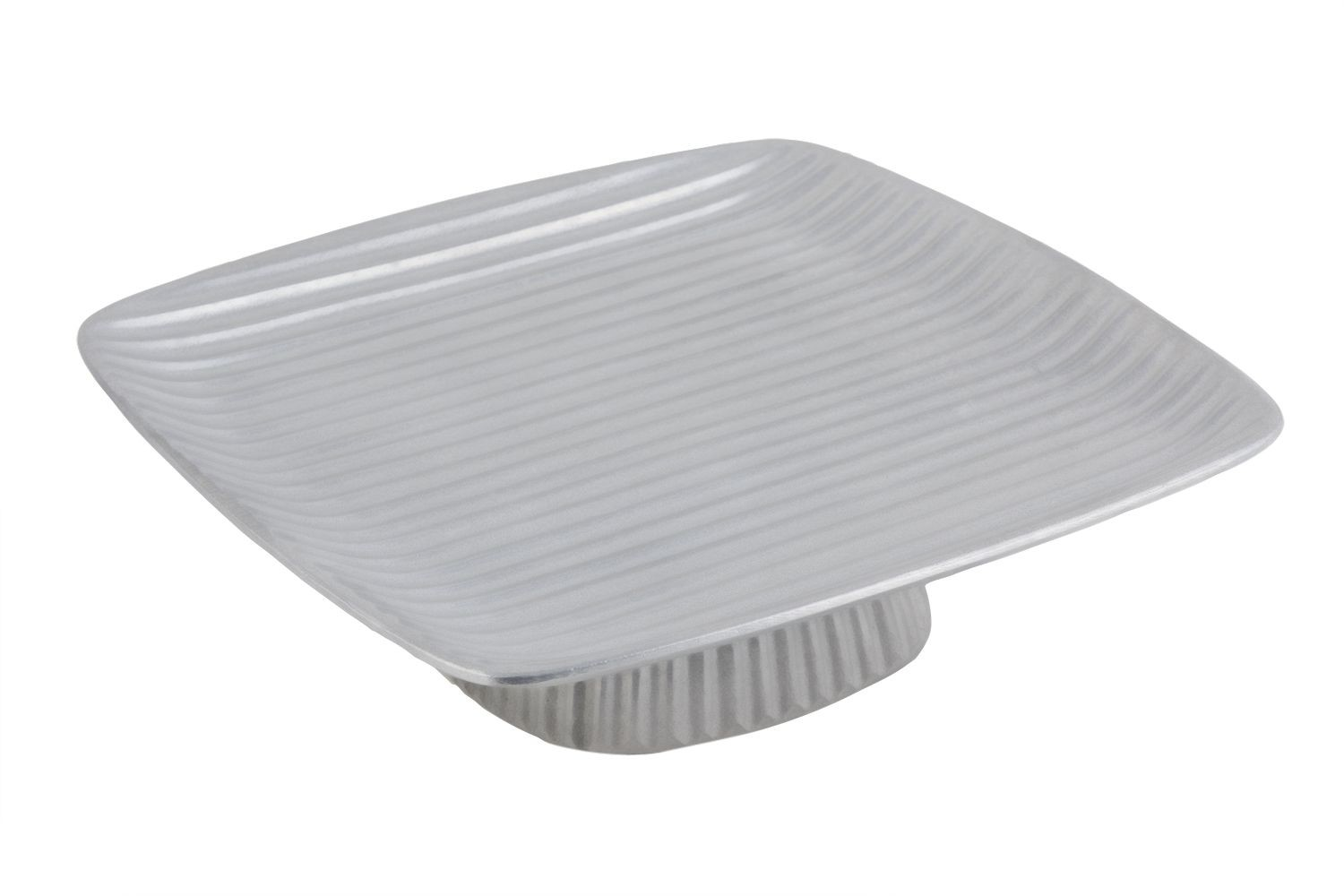 "Bon Chef 99199911P Footed Ribbed Platter, Pewter Glo 12 1/2"" x 12 1/2"" x 3"""