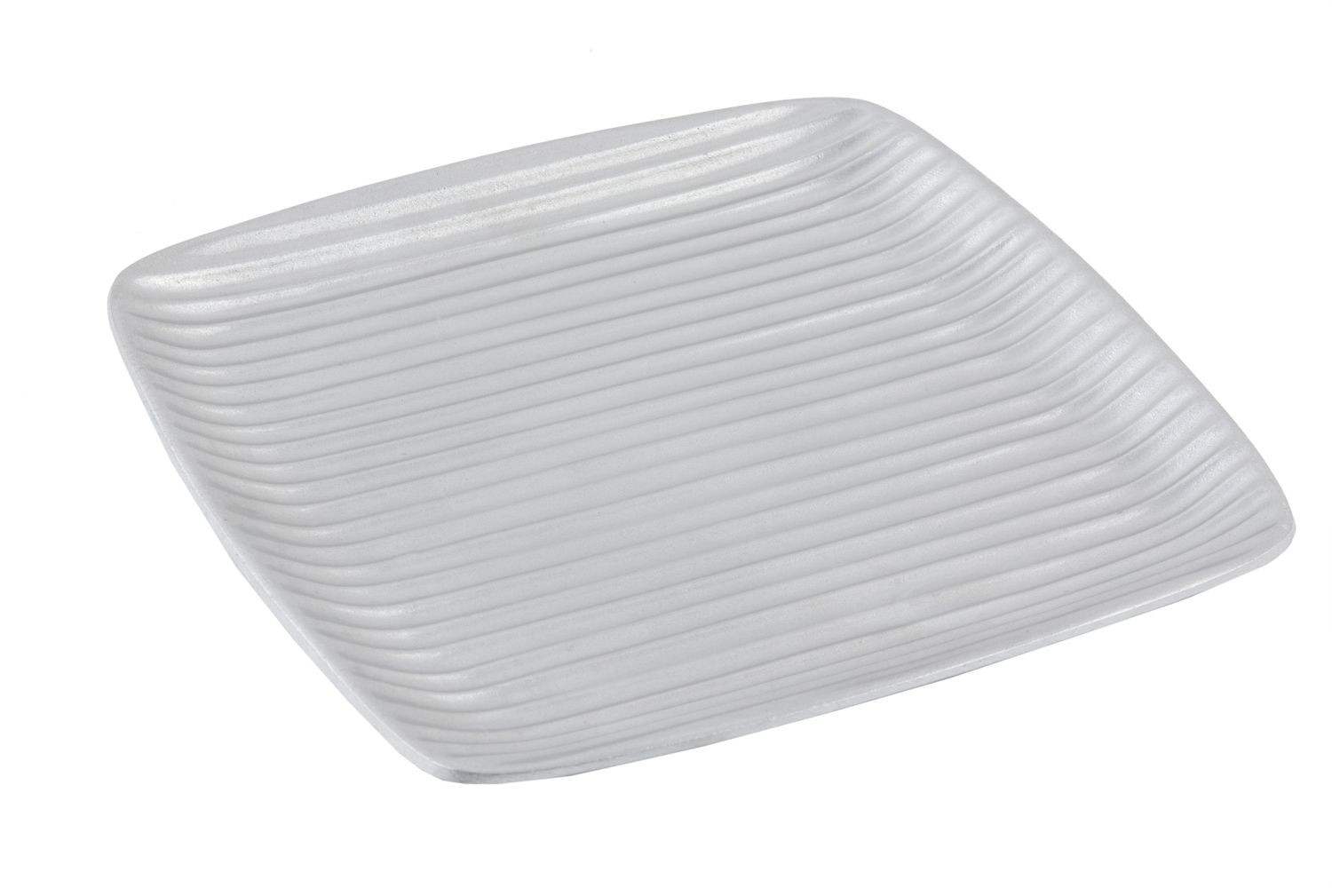 "Bon Chef 9919P Ribbed Square Platter, Pewter Glo 12 1/2"" x 12 1/2"", Set of 2"