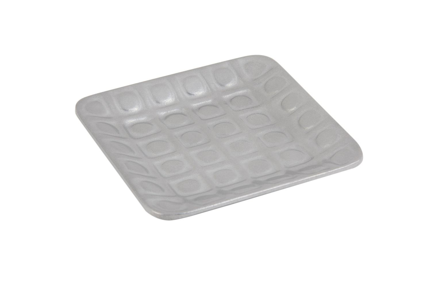 "Bon Chef 9922P Circle-Embossed Square Platter, Pewter Glo 5 1/2"" x 5 1/2"", Set of 6"