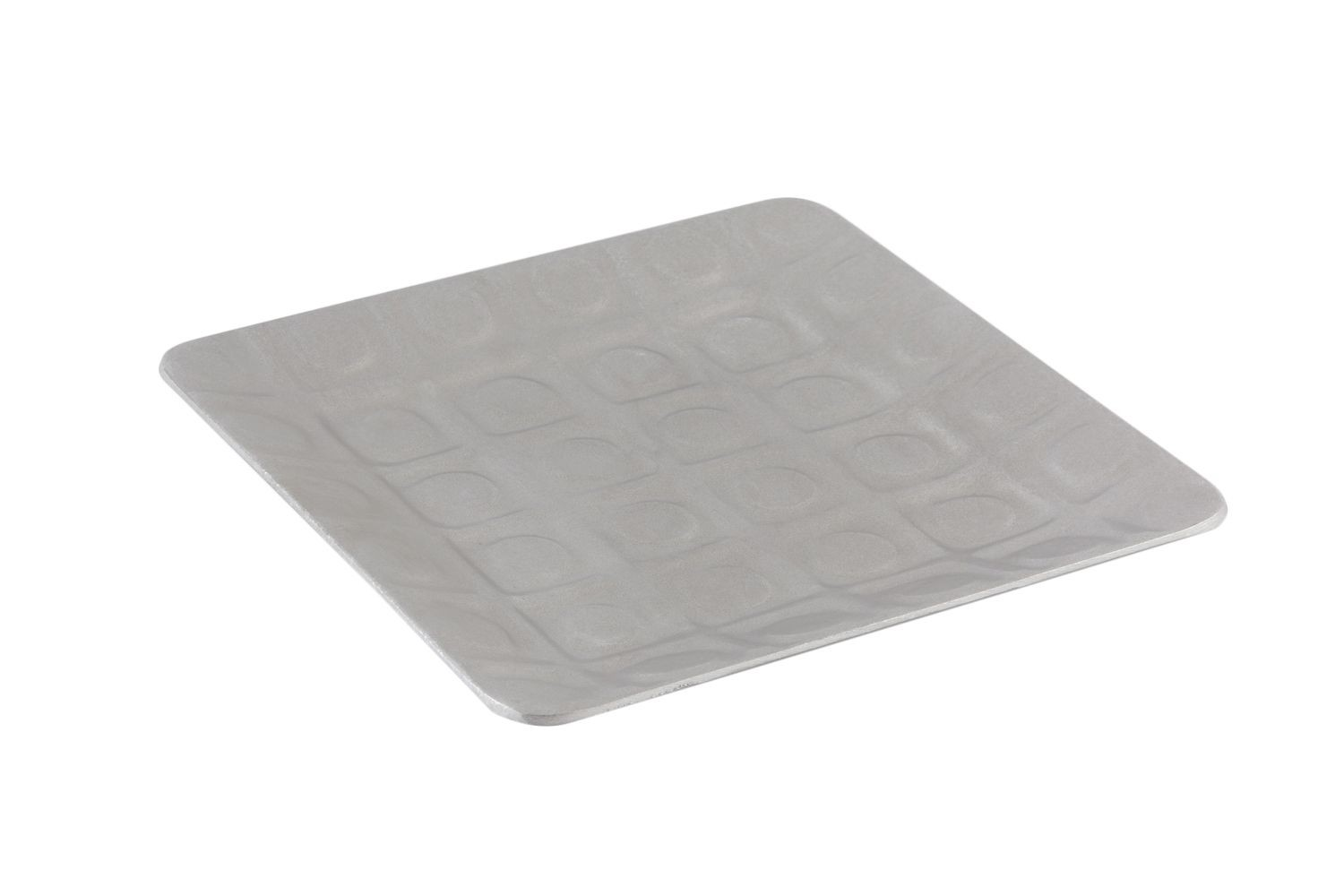 "Bon Chef 9923P Circle-Embossed Square Platter, Pewter Glo 10"" x 10"", Set of 4"