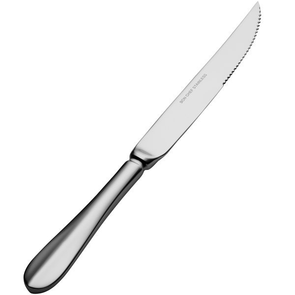 Bon Chef S1115S Chambers 18/8 Stainless Steel Silverplated European Solid Handle Steak Knife
