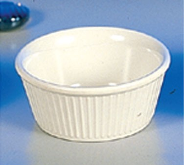 Thunder Group ML533B Bone White Melamine 3-3/4 oz. Fluted Ramekin 3-3/8""