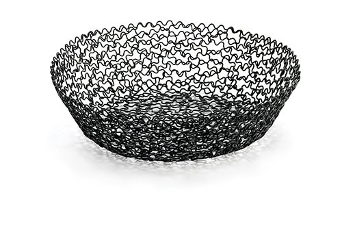 "Boucle Collection Black Round Basket, 8"" x 2"""