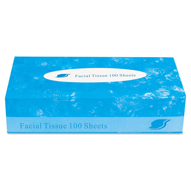 Boxed Facial Tissue, 2-Ply, White, 100 Sheets/Box, 20 Boxes/Carton