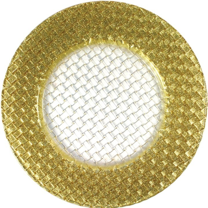 "Jay Import 1470058 Braid Gold Glitter 12.5"" Glass Charger Plate"