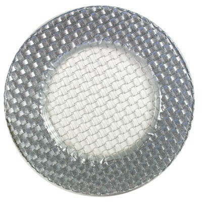 "Jay Import 1470059 Braid Silver Glitter 12.5"" Charger Plate"