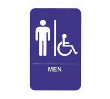 """TableCraft 695631 Men/Accessible + Handicapped Symbol Braille Sign, White-On-Blue 6"""" x 9"""""""