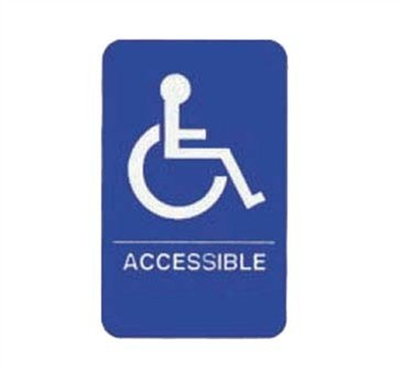 "TableCraft 695632 Accessible + Handicapped Symbol Braille Sign, White-On-Blue 6"" x 9"""