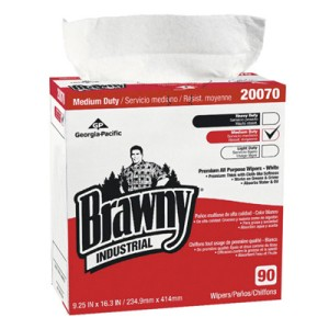 Brawny Industrial Premium All-Purpose Wipers, 2-Ply, White