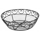 Winco wbkg-8r Round Black Metal Wire Bread and Fruit Basket 8""