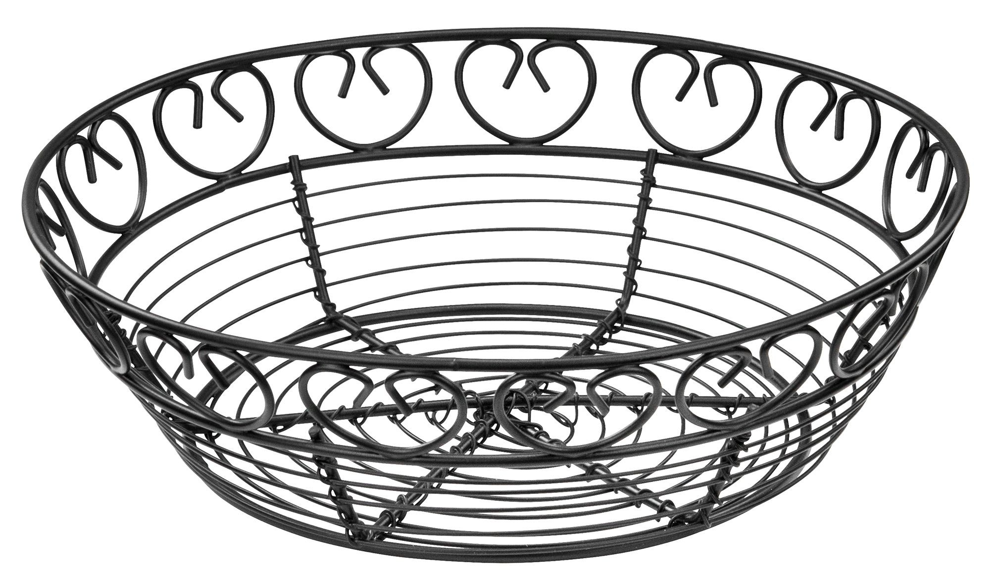 Bread/Fruit Basket, Black Wire, Round, 8