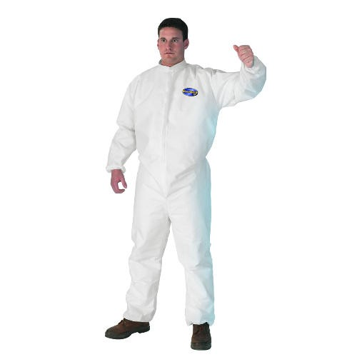 Breathable Splash & Particle Protection Apparel, Large, Front Zip, Storm Flap, Elastic Back, Wrists and Ankles, White