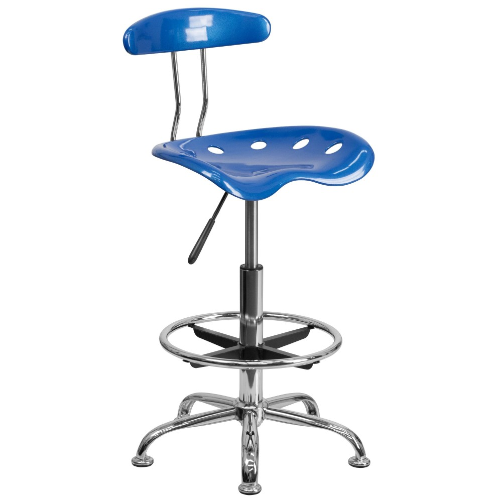 Bright Blue And Chrome Bar Stool Height Drafting Stool with Tractor Seat