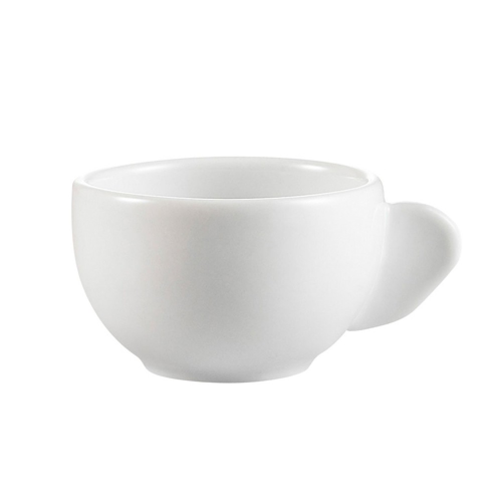 Bright White Clinton Coffe Cup 3 Oz with moon handle