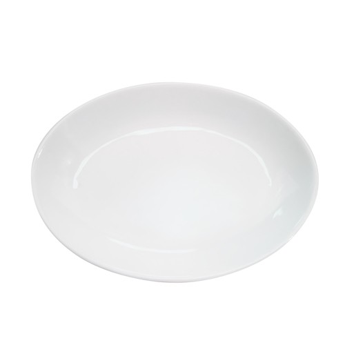 Bright White Clinton Oval Deep Platter 19