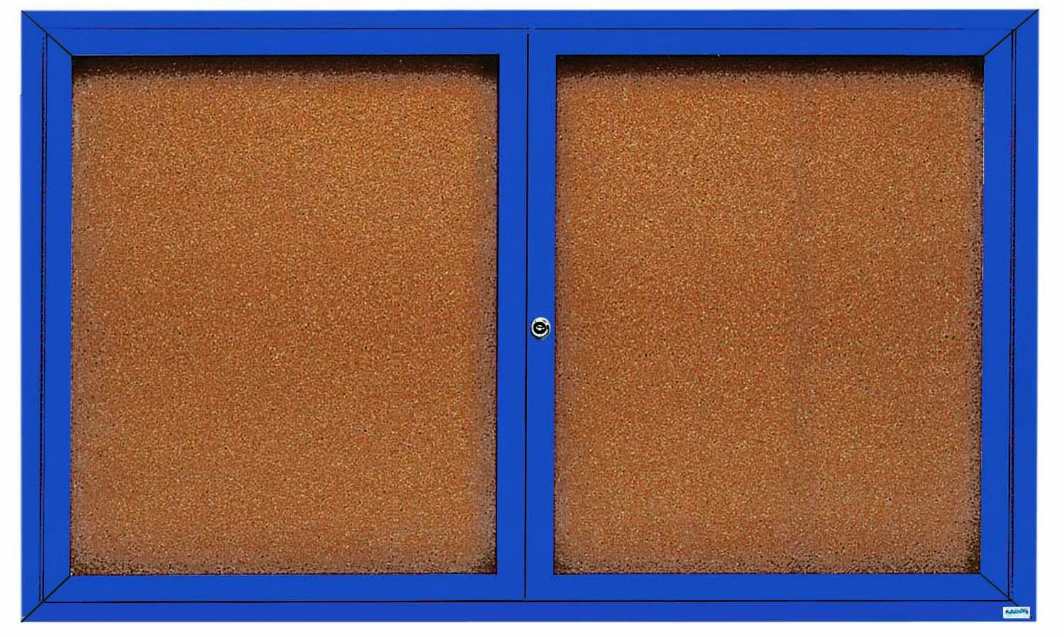 "Aarco Products DCC3660RB 2 Door Indoor Enclosed Bulletin Board with Blue Powder Coated Aluminum Frame, 36""H x 60""W"