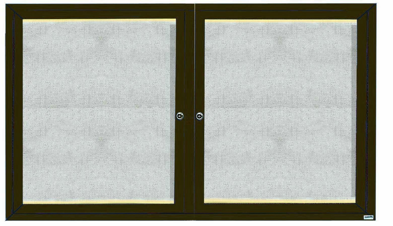 """Aarco Products LODCC3660RBA 2 Door Outdoor Aluminum Framed Enclosed Bulletin Board with LED Lighting and Bronze Anodized Finish, 36""""H x 60""""W"""