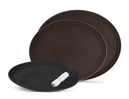 "G.E.T. Enterprises NS-3100-BR Brown Non-Skid 31"" x 25"" Oval Tray"