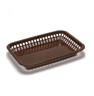 "TableCraft 1077BR Brown Grande Plastic Platter Basket 10-3/4"" x 7-3/4"" x 1-1/2"""