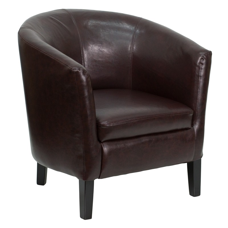 Brown Leather Barrel Shaped Reception Chair