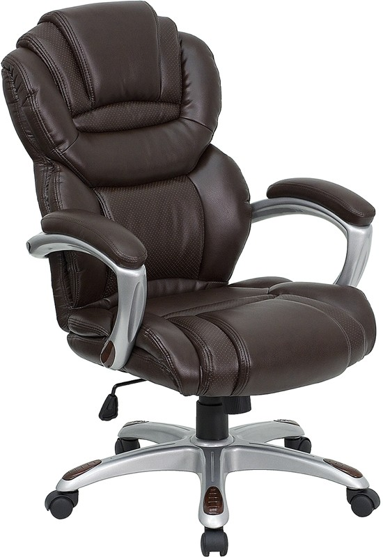 Flash Furniture GO-901-BN-GG Brown Leather Executive Office Chair with Leather Padded Loop Arms