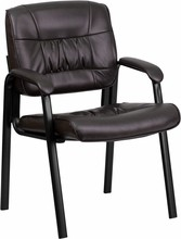 Brown Leather Guest / Reception Chair with Black Frame Finish