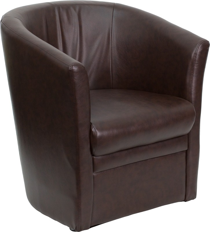 Flash Furniture GO-S-01A-BN-FULL-GG Brown Leather Barrel-Shaped Reception Chair