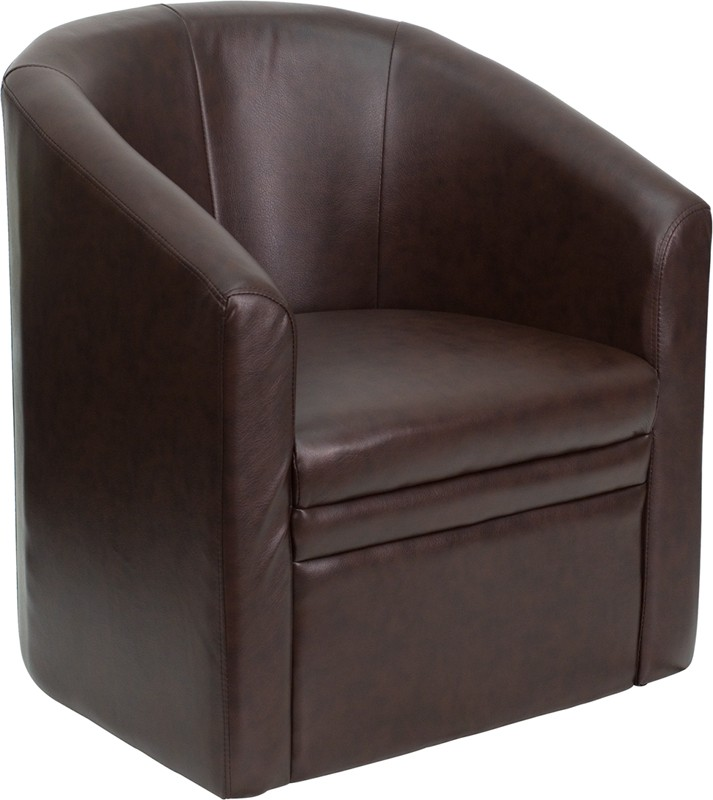 Leather Reception Chair Brown