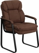 Flash Furniture GO-1156-BN-GG Brown Micro Fiber Executive Side Chair with Sled Base