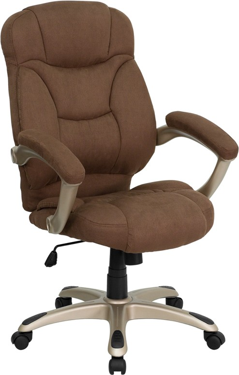 Brown Microfiber High Back Office Chair