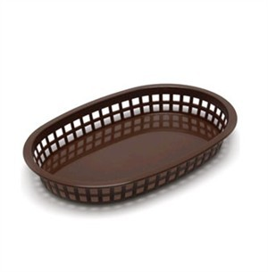 Brown Oval Plastic Chicago Platter Basket - 10-1/2
