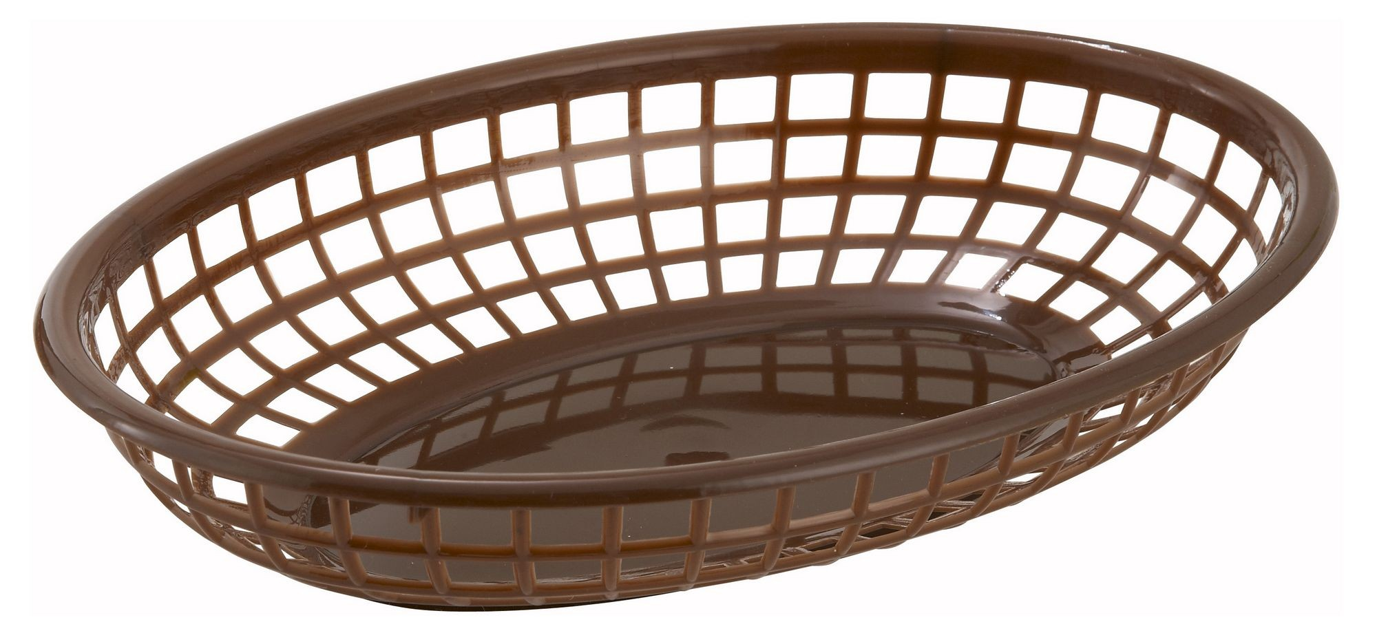 Winco PFB-10B Brown Oval Plastic Fast Food Basket 9-1/2""