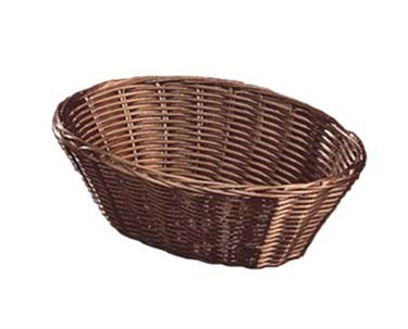 "TableCraft 1476 Brown Oval Handwoven Basket 10"" x 6-1/2"" x 3"""