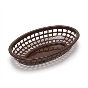 "TableCraft 1074BR Brown Classic Plastic Oval Basket 9-3/8"" x 6"" x 1-7/8"""