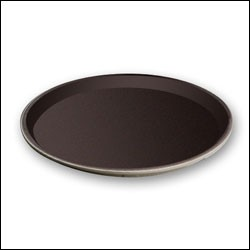 "G.E.T. Enterprises NS-1100-BR Brown Non-Skid 11"" Round Tray"