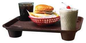 "G.E.T. Enterprises FT-20-BR Brown Polypropylene 17"" x 14"" Fast Food Tray with 4-Holders"