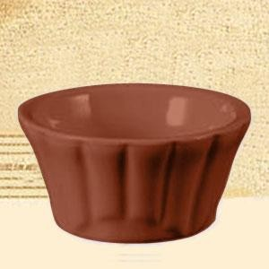 CAC China RMK-F4 -BWN Festiware Brown Floral Ramekin 4 oz.