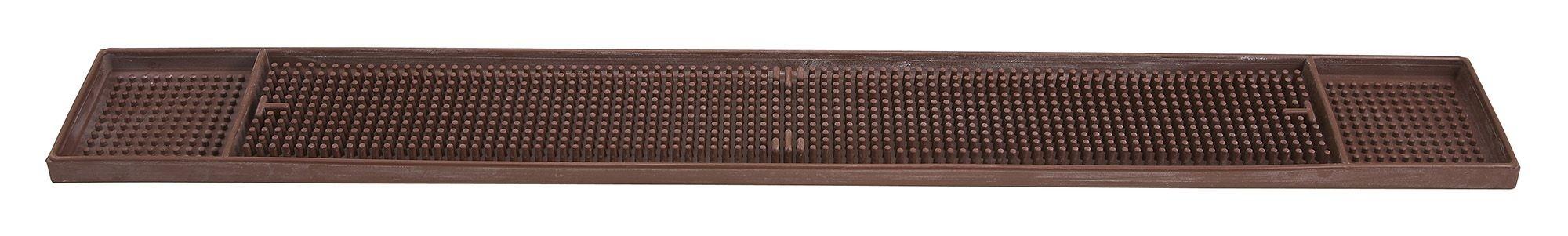 "Winco BM-327B Brown Rubber Bar Mat 27"" x 3-1/4"""