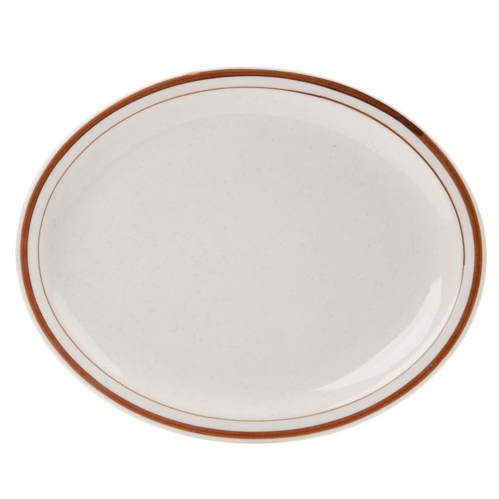 """Yanco BR-14 Brown Speckled 13 1/4"""" Oval Platter"""