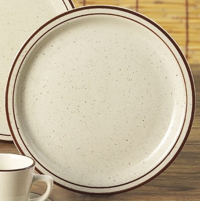 "Yanco BR-8 Brown Speckled 9"" Plate"